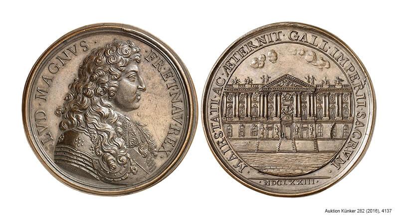 Medaille Ludwigs XIV. von Frankreich 1673 auf die Fertigstellung der Ostfassade des Louvre