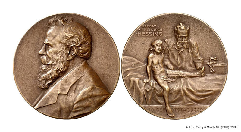 Medaille 1908 zum 70. Geburtstag des Orthopäden Friedrich von Hessing