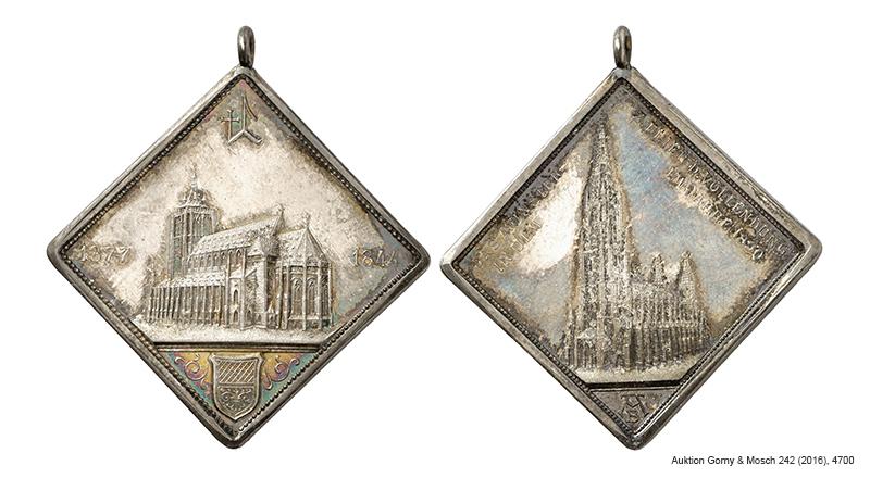 Klippenförmige Medaille 1890 auf die Fertigstellung des Hauptturms des Ulmer Münsters