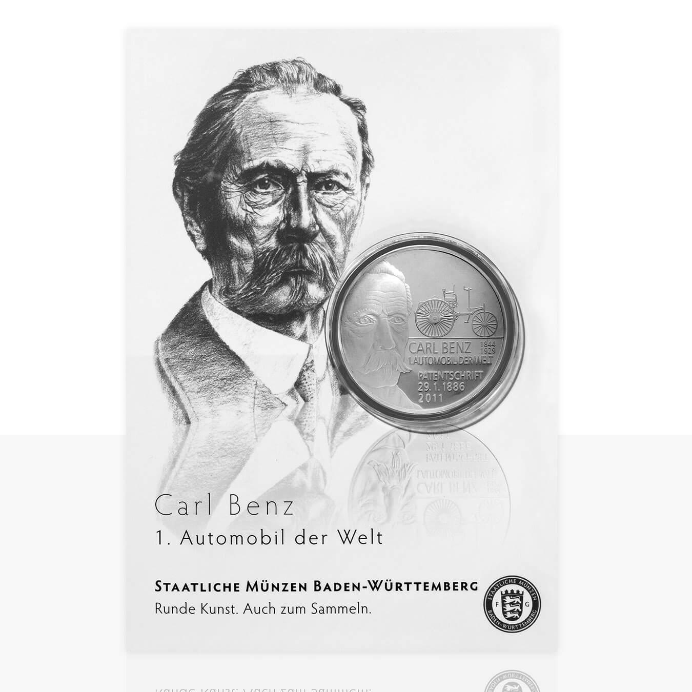 Carl Benz Und Gottlieb Daimler Versilberte Medaille In