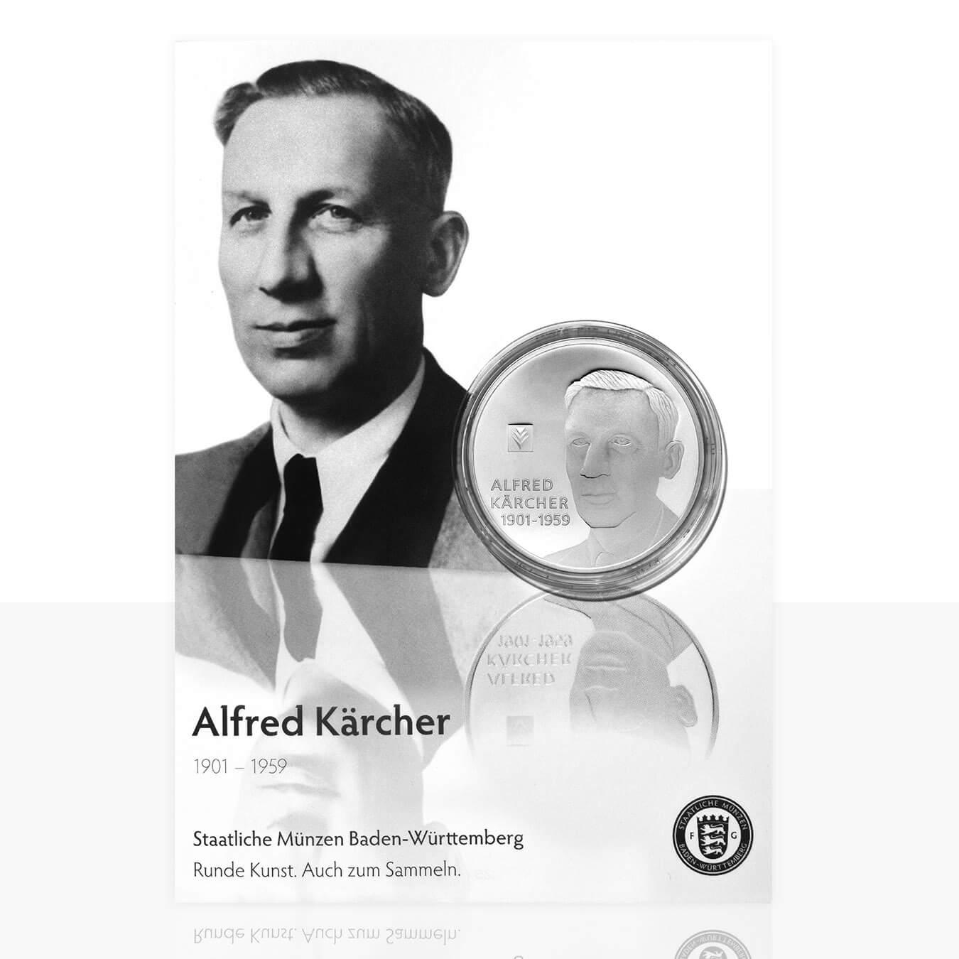 Alfred Kärcher Versilberte Medaille In Medaillenkarte Staatliche
