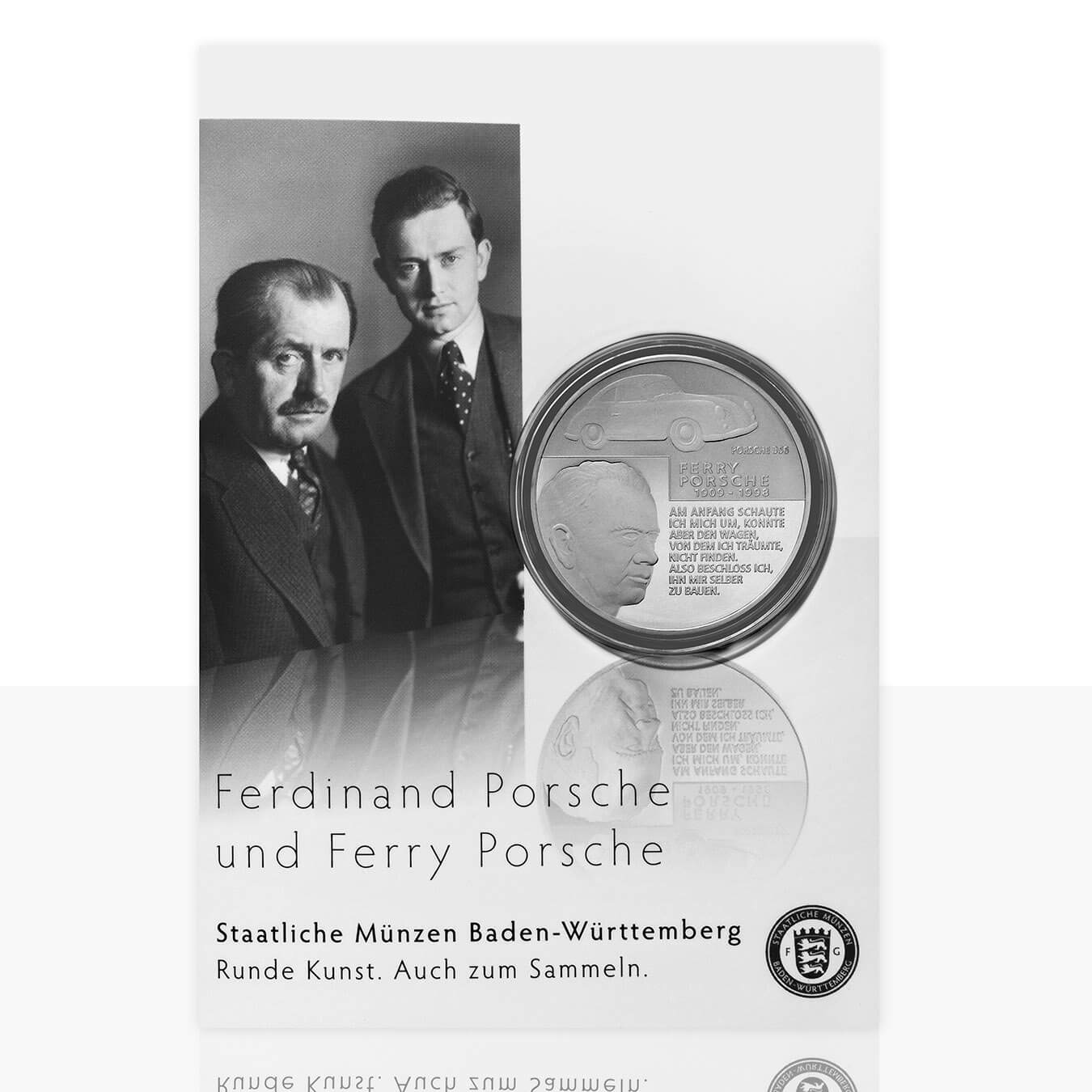 Ferdinand Und Ferry Porsche Versilberte Medaille In Medaillenkarte