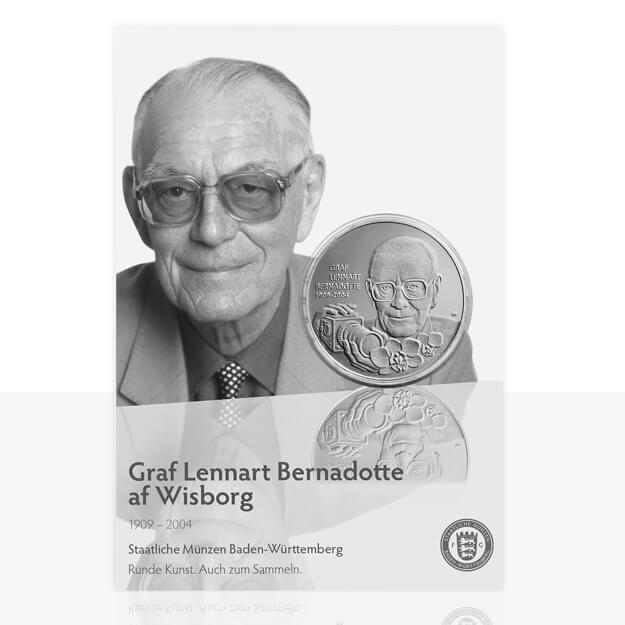 Graf Lennart Bernadotte Versilberte Medaille In Medaillenkarte