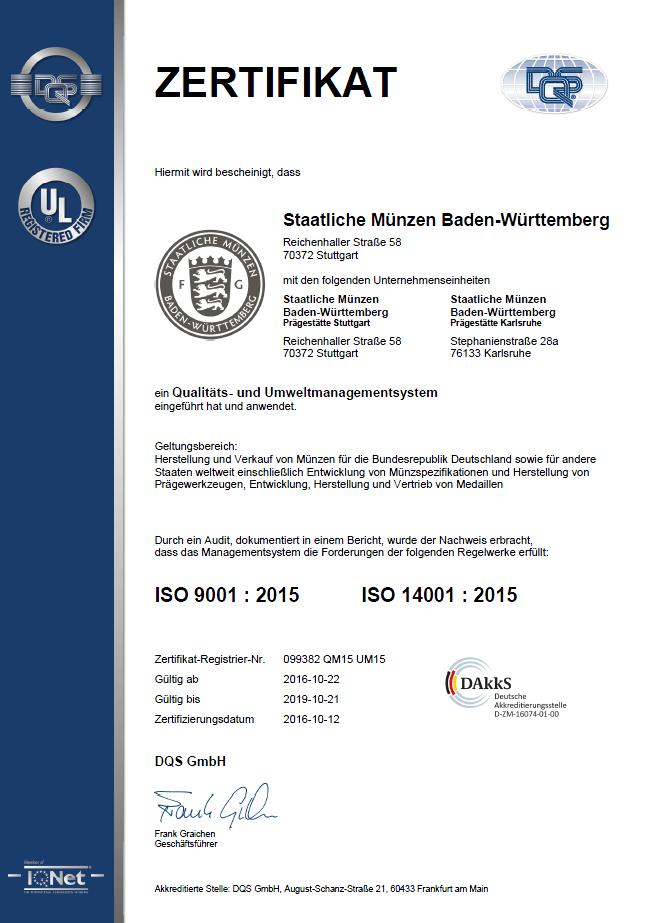 Zertifikate – Staatliche Münzen Baden-Württemberg