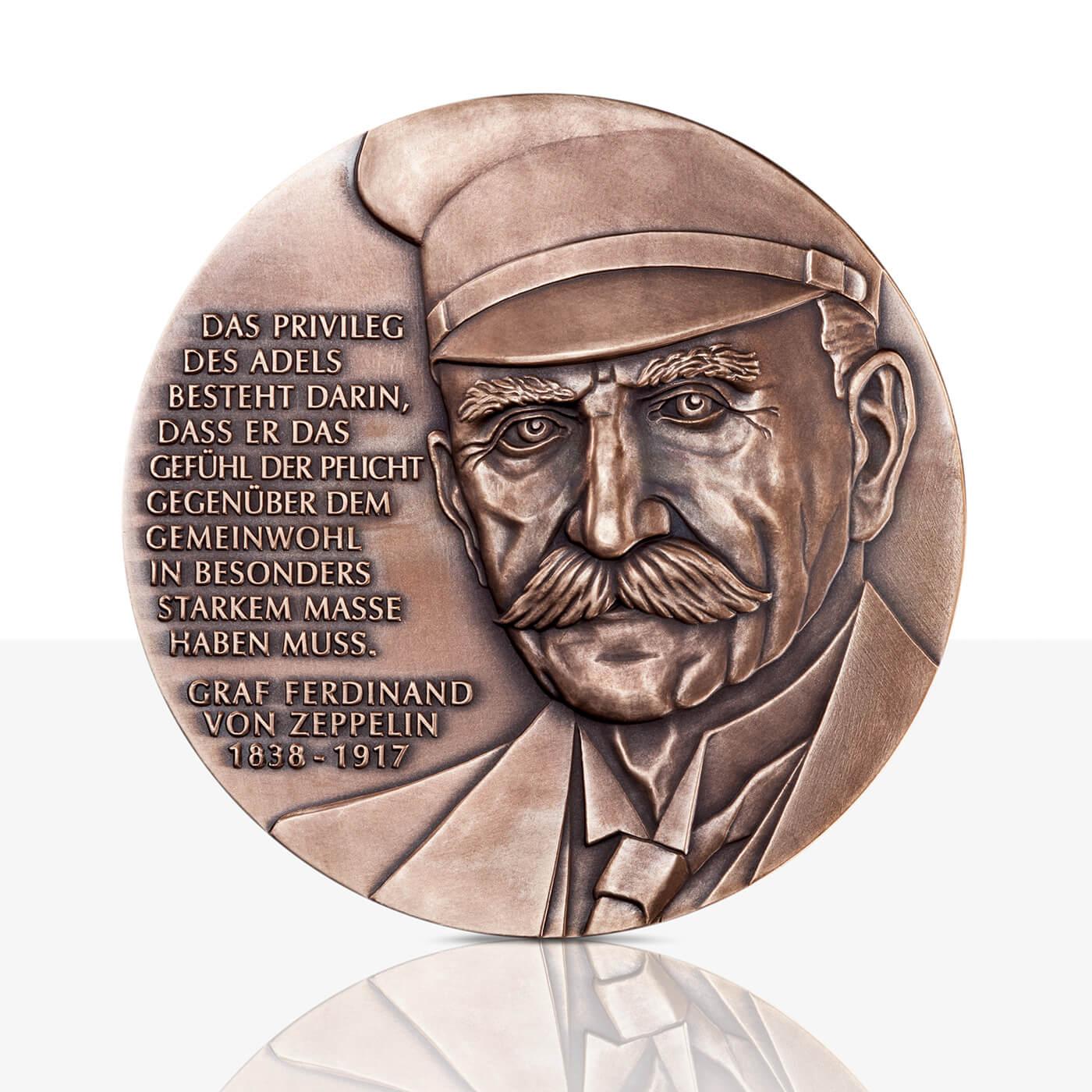 Ferdinand Graf Von Zeppelin Hochrelief Medaille Bronze
