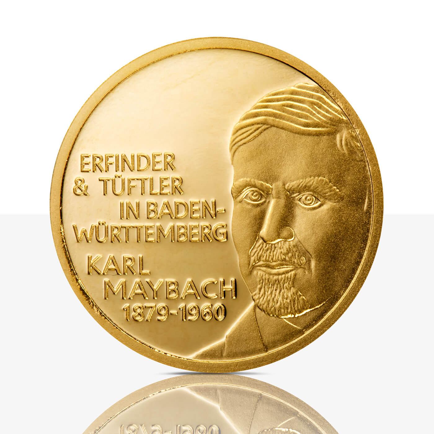Karl Maybach Feingoldmedaille Spiegelglanz Staatliche Münzen