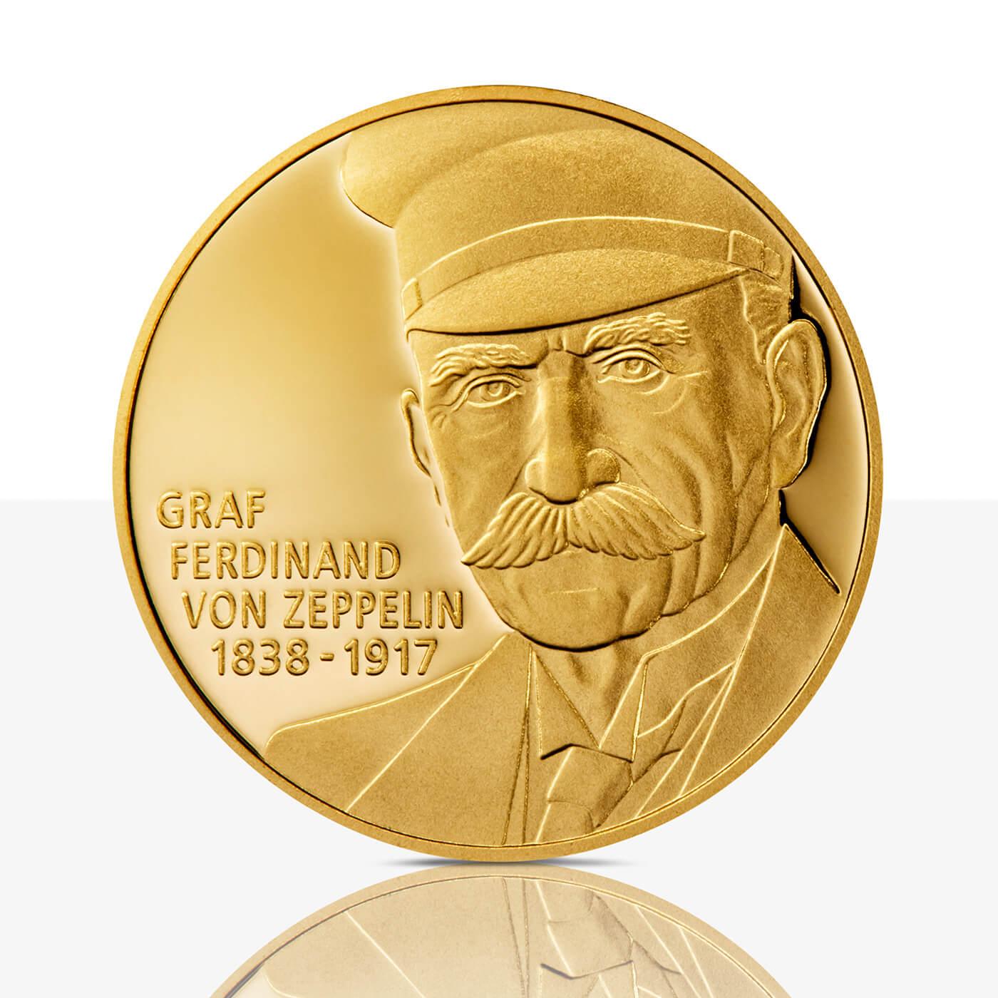 Ferdinand Graf Von Zeppelin Feingoldmedaille Spiegelglanz