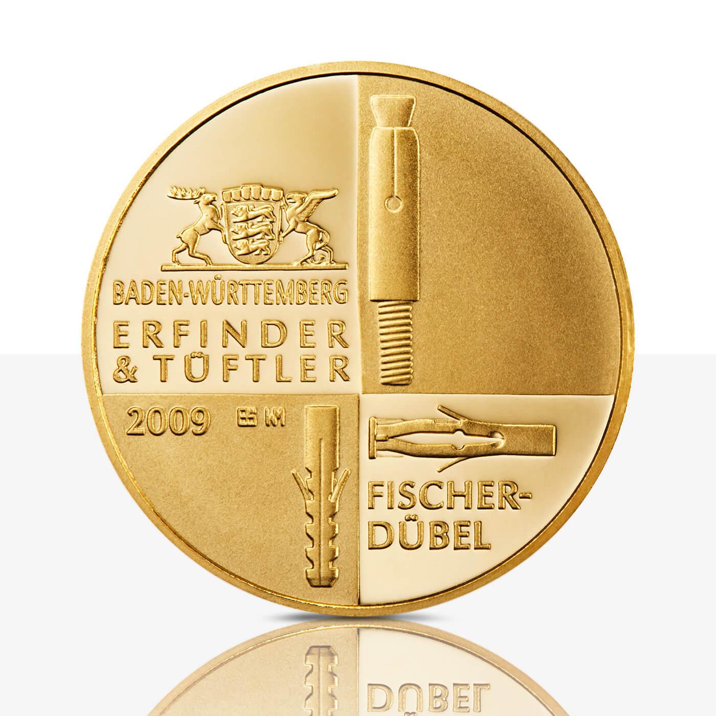 Artur Fischer Feingoldmedaille Spiegelglanz Staatliche Münzen