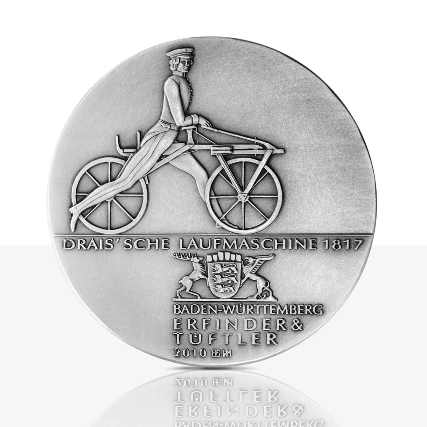 Karl Drais Hochrelief Medaille Feinsilber Staatliche Münzen