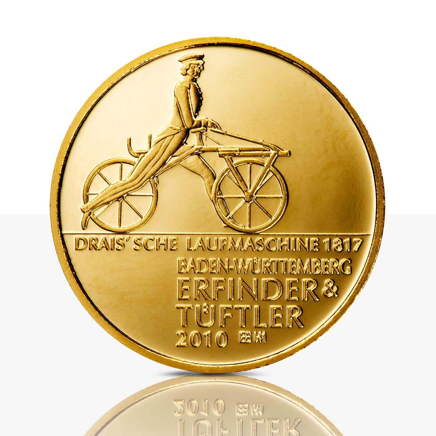 Karl Drais Feingoldmedaille Spiegelglanz Staatliche Münzen Baden