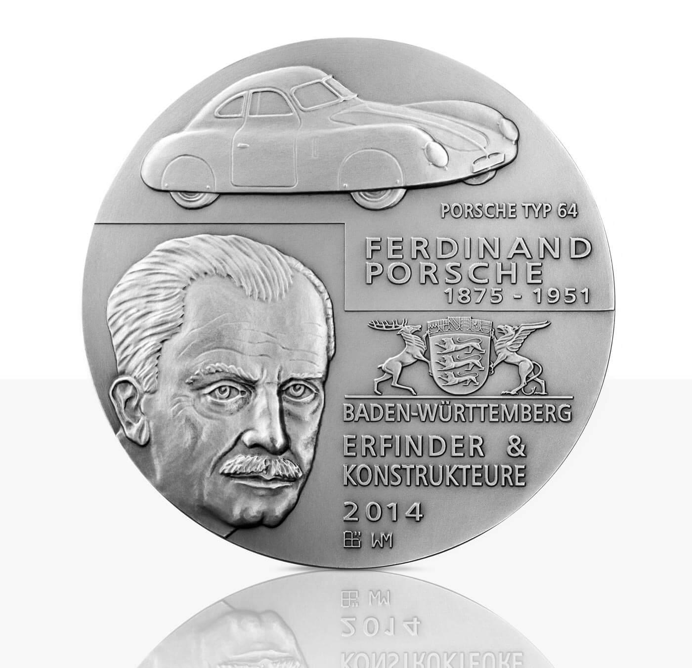 Ferdinand Und Ferry Porsche Hochrelief Medaille Feinsilber