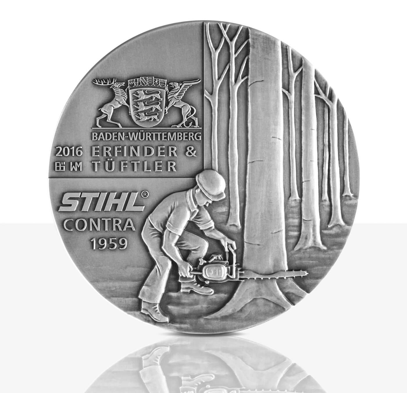 Andreas Stihl Hochrelief Medaille Feinsilber Staatliche Münzen