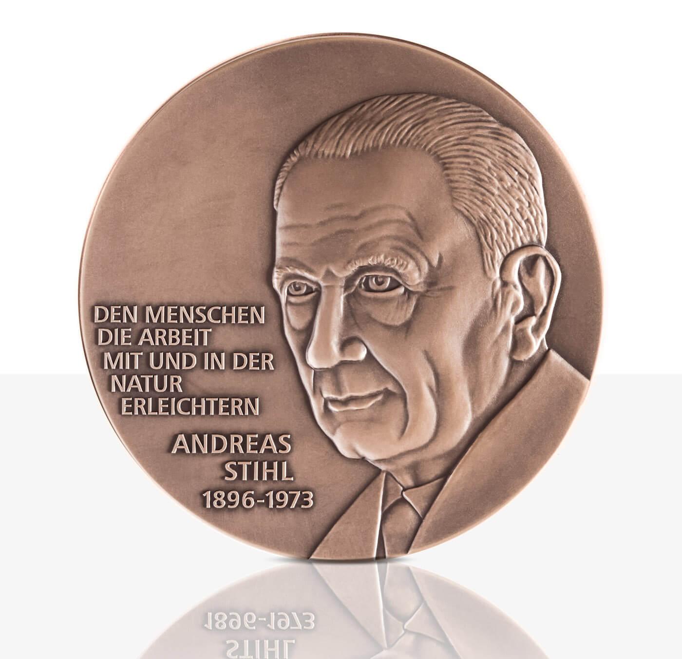 Andreas Stihl Hochrelief Medaille Bronze Staatliche Münzen Baden
