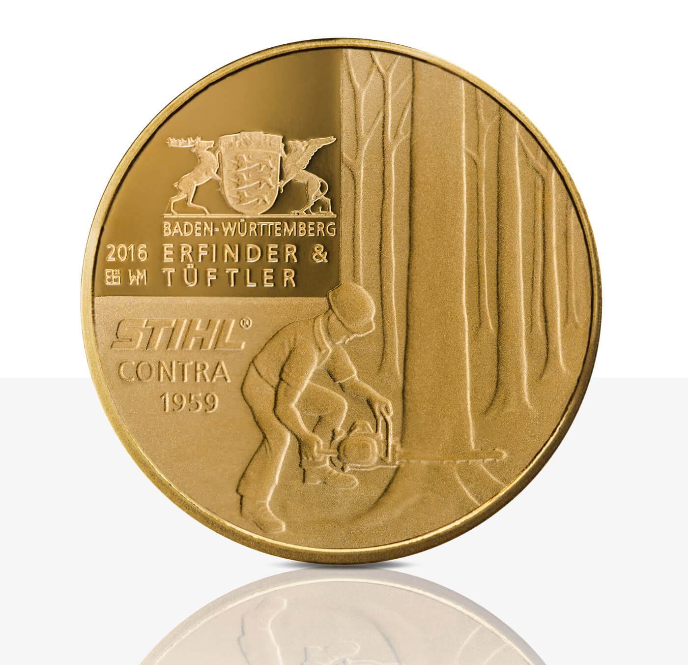 Andreas Stihl Feingoldmedaille Spiegelglanz Staatliche Münzen