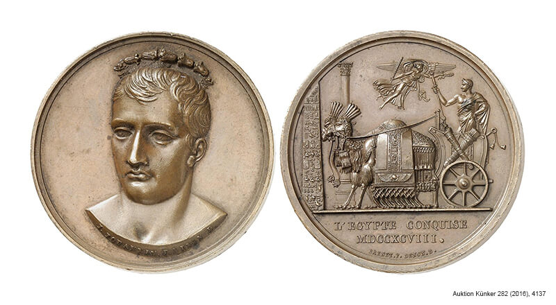 Medal of Napoleon I from 1798 on the conquest of Egypt