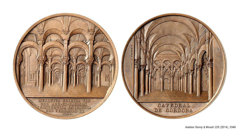 Medal by Jacques Wiener from Belgium representing the Cathedral of Cordoba from 1859