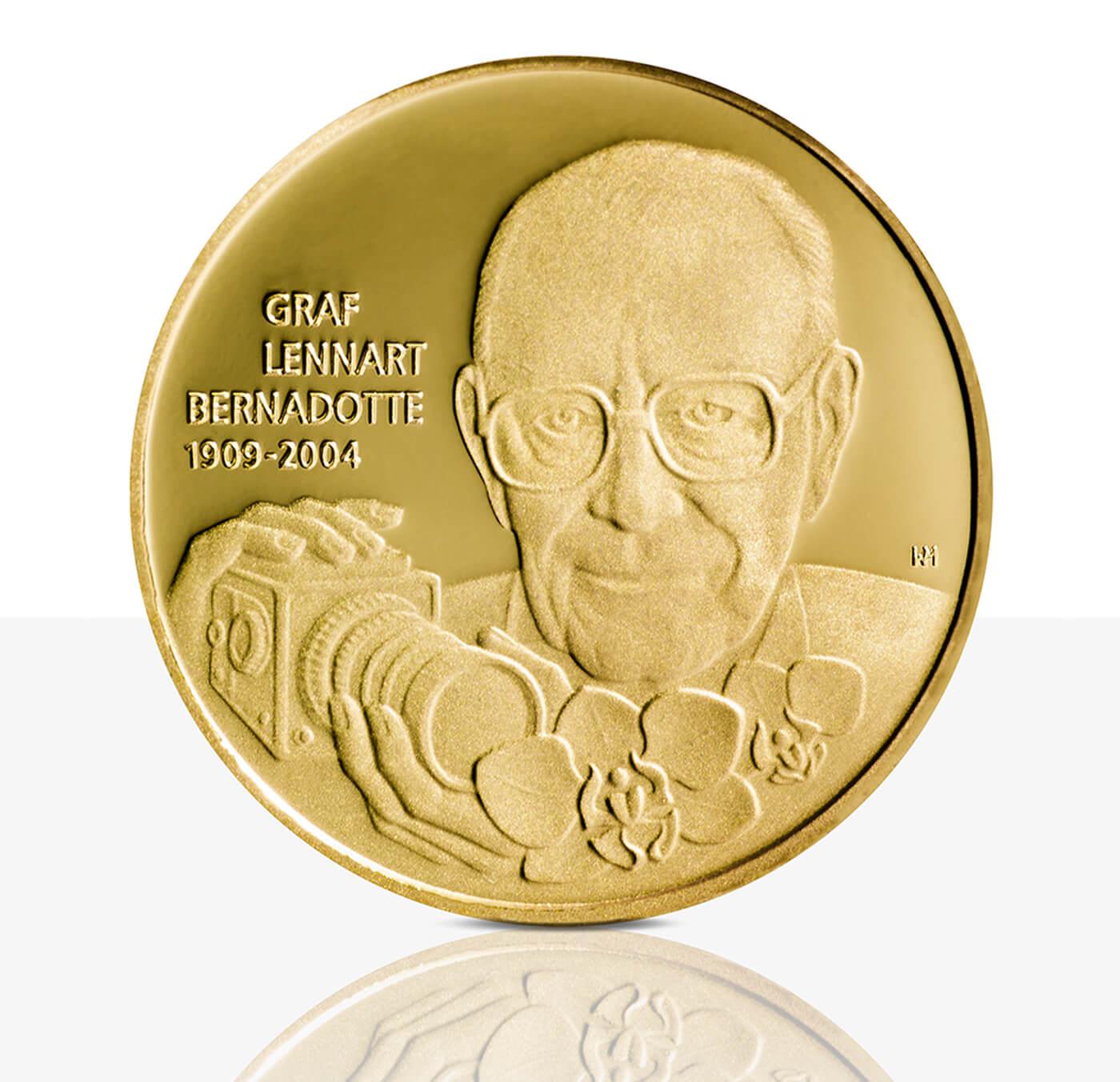 Graf Lennart Bernadotte Feingoldmedaille Spiegelglanz Staatliche