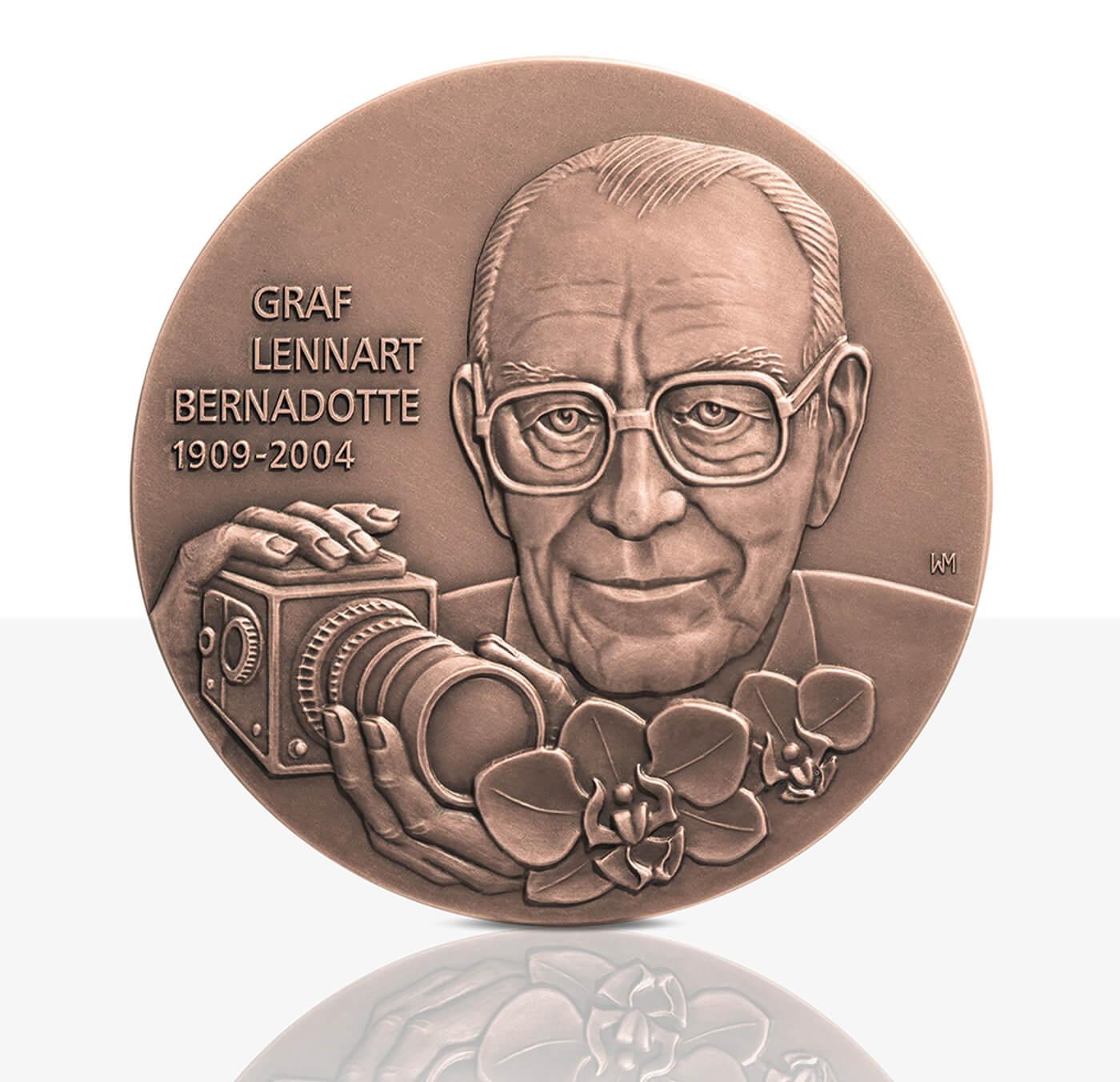 Graf Lennart Bernadotte Hochrelief Medaille Bronze Staatliche