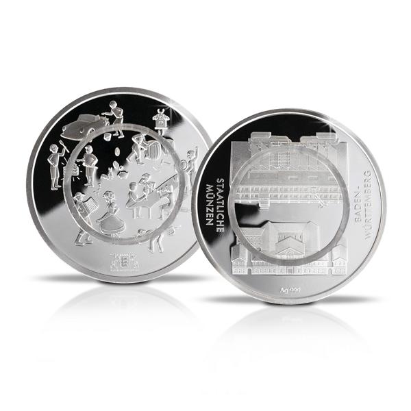 Polymer Feinsilbermedaille In Medaillenkarte Baden Württembergische